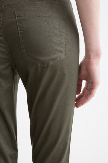 Stretch cotton paisley trousers, Army Green, hi-res