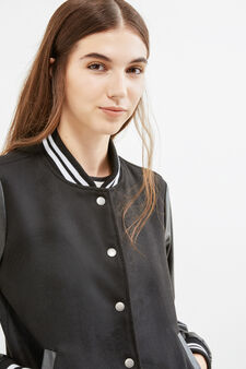 Bomber jacket with ribbed trim, Black, hi-res