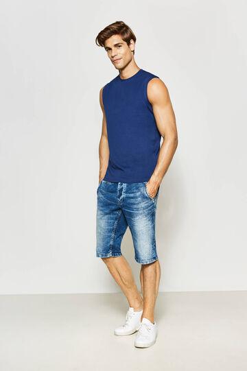 Slim-fit mis-dyed denim Bermuda shorts