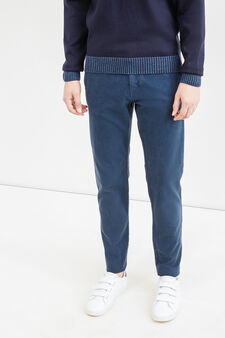 Regular-fit stretch cotton chino trousers, Blue, hi-res