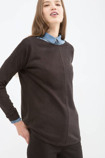 Pullover with boat neck, Black, hi-res