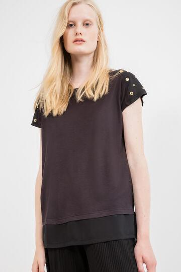 100% viscose T-shirt with eyelets, Black, hi-res