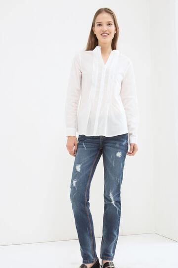 Solid colour 100% cotton blouse, White, hi-res