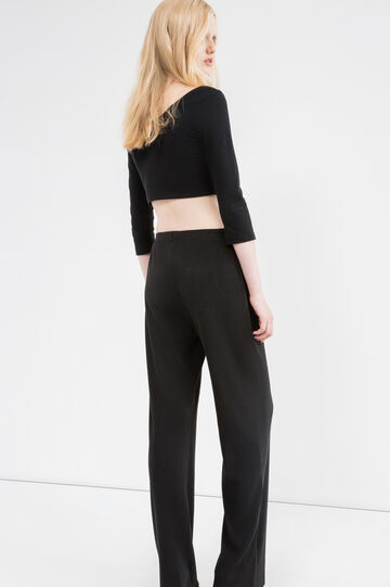 Solid colour ribbed trousers, Black, hi-res