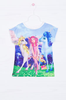T-shirt stretch stampata con strass, Multicolor, hi-res