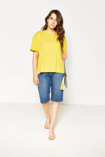 T-shirt con fondo asimmetrico Curvy, Giallo girasole, hi-res