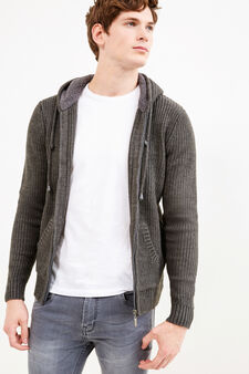 Knitted cardigan with hood and zip, Slate Grey, hi-res