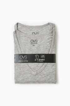 Two-pack undershirts with V neck, Light Grey, hi-res