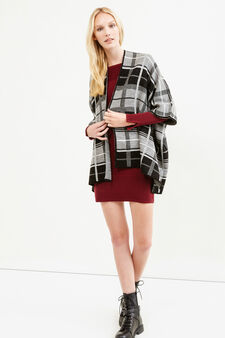 Check pattern knitted cloak, Grey, hi-res