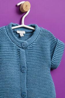 Solid colour short-sleeved cardigan, Soft Blue, hi-res