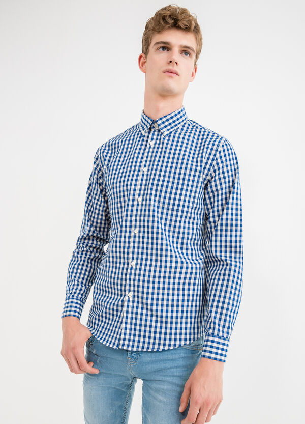 Camicia casual cotone fantasia quadri | OVS