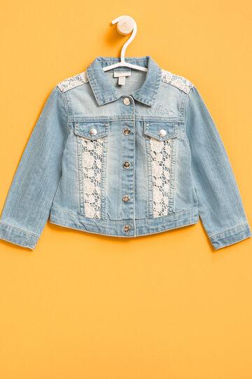 Worn-effect denim jacket with lace, Denim, hi-res