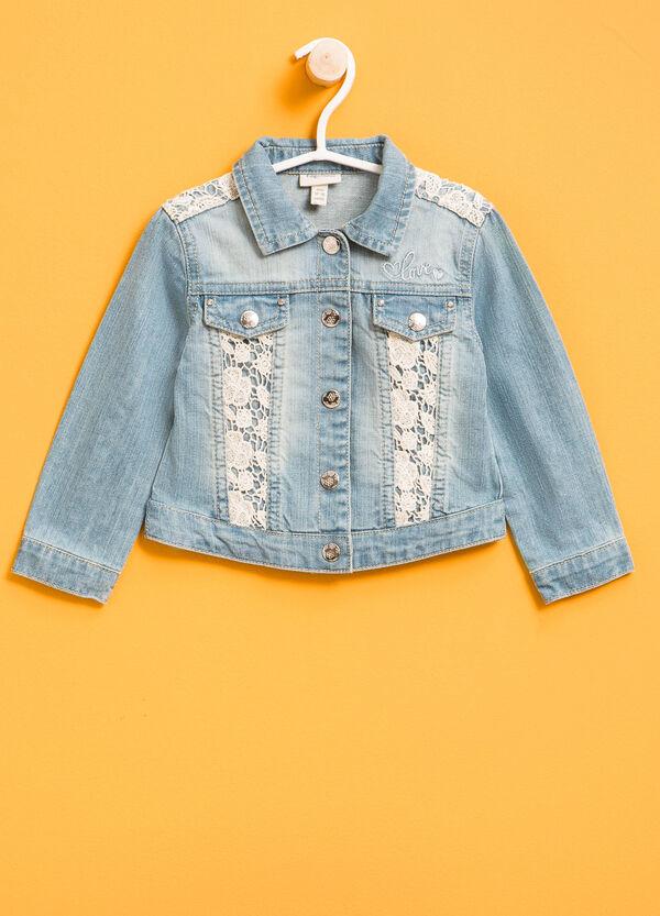 Worn-effect denim jacket with lace | OVS