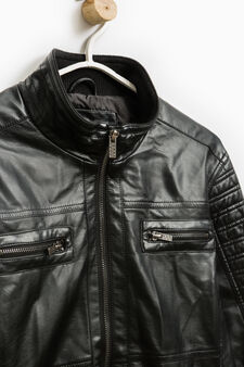 Solid colour jacket with quilting, Black, hi-res
