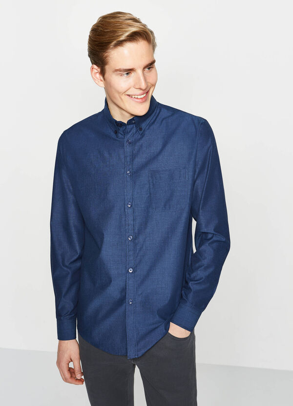 Camicia casual regular fit tinta unita | OVS
