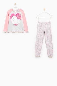 Pets print pyjamas with frills, Grey/Pink, hi-res