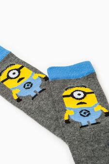 Long stretch Minions socks, Grey Marl, hi-res