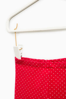 Polka dot stretch trousers, Red, hi-res