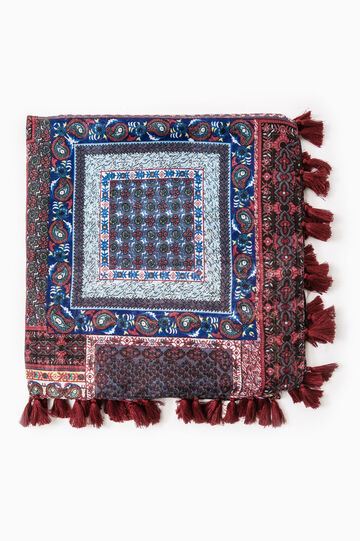 Patterned pashmina with tassels, Grey/Red, hi-res