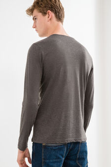 Long-sleeved 100% cotton T-shirt, Slate Grey, hi-res