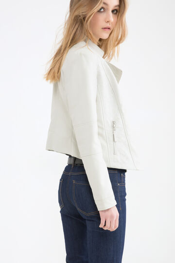Leather look jacket with zip pockets, White, hi-res