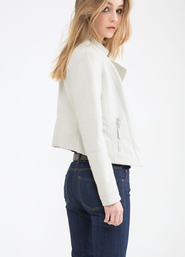 Leather look jacket with zip pockets | OVS
