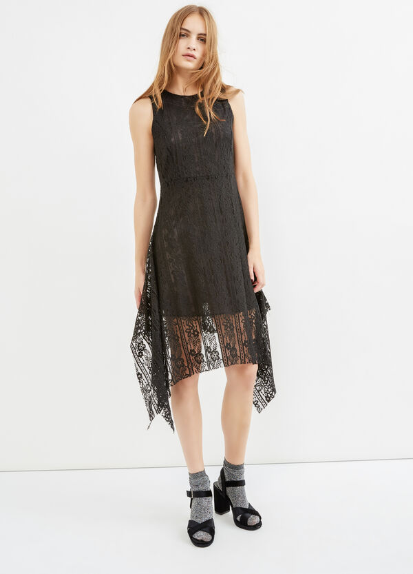 Sleeveless lined lace dress | OVS