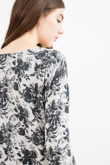 Cotton blend pullover with floral print, Black/Grey, hi-res