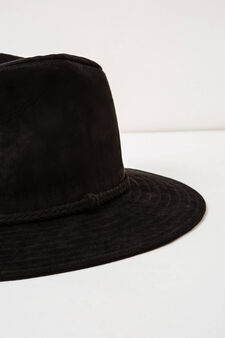 Wide-brimmed hat with band, Black, hi-res