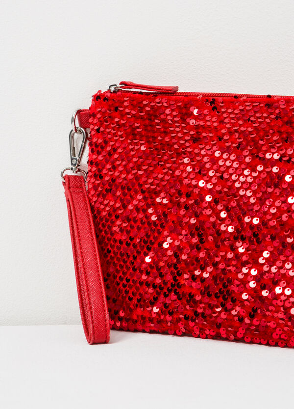 Solid colour clutch with sequins | OVS