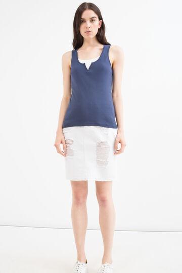 Solid colour 100% cotton top, Navy Blue, hi-res
