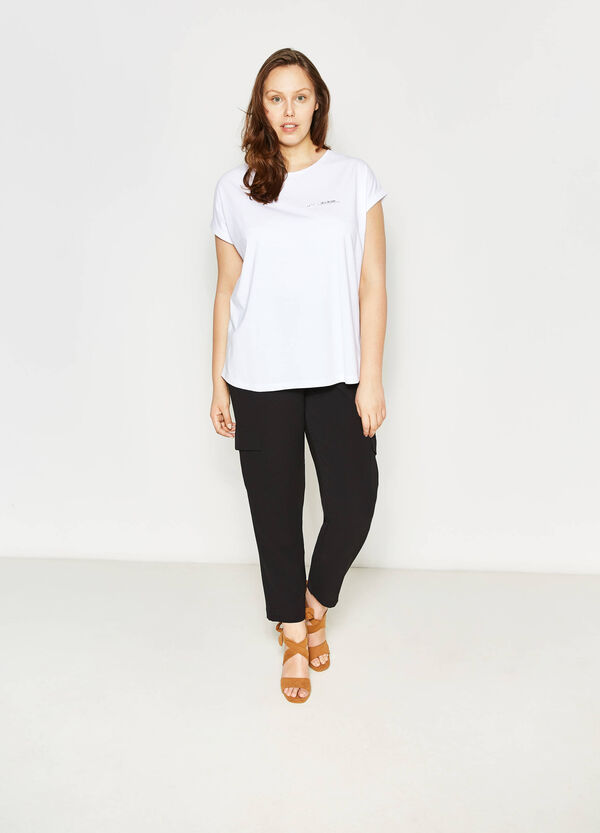 Curvy cotton T-shirt with print | OVS
