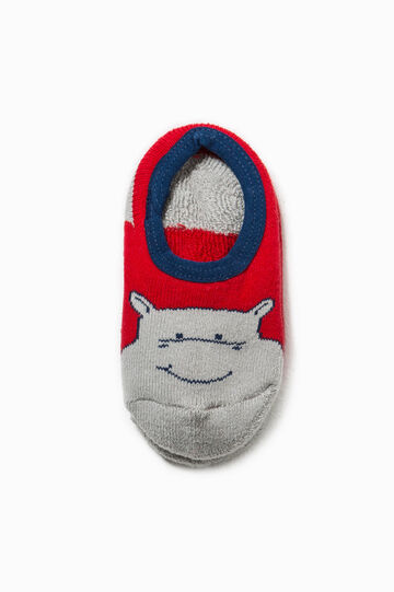 Slipper socks in embroidered cotton, Grey/Red, hi-res