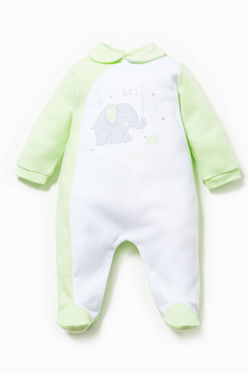 Printed onesie in 100% cotton, Green, hi-res