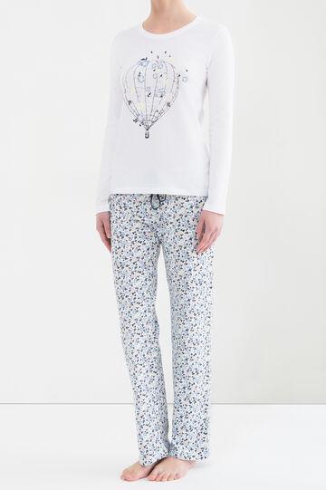 Printed pyjamas in 100% cotton, Cream White, hi-res