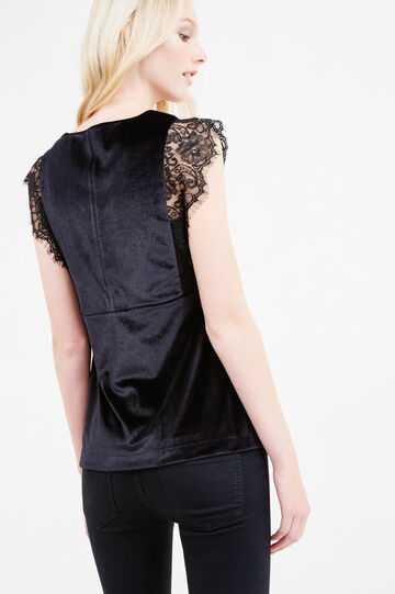Sleeveless velvet blouse with lace, Black, hi-res