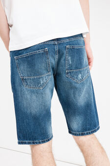 Bermuda di jeans slim fit used, Lavaggio medio, hi-res