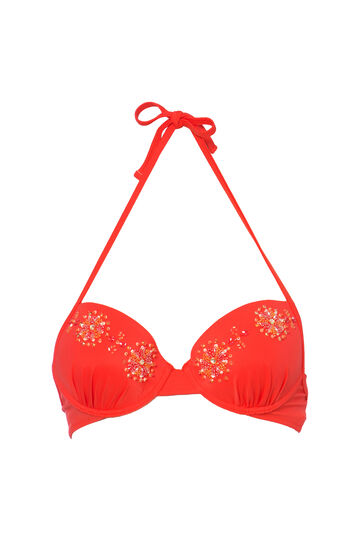 Push-up bra with beads, Orange, hi-res