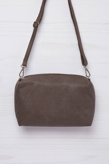 Openwork leather look mini bag., Brown, hi-res