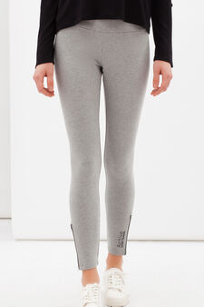 Stretch gym leggings with zip., Dark Grey, hi-res