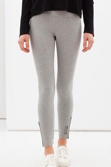 Leggings sportivi stretch con zip, Grigio scuro, hi-res