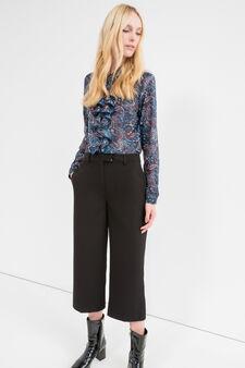 Pantaloni crop stretch tinta unita, Nero grafite, hi-res