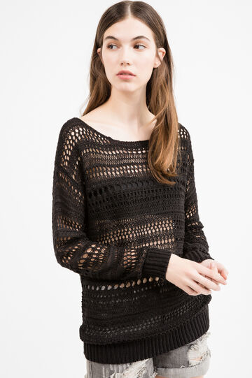 Openwork pullover with wide round neck, Black, hi-res