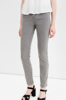 Slim-fit stretch jeans with zip, Grey, hi-res