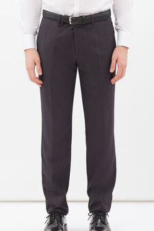 Elegant trousers in stretch viscose, Grey, hi-res