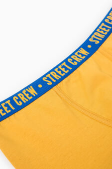 Stretch cotton printed boxers, Yellow, hi-res