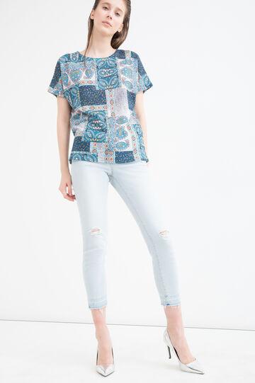 T-shirt fantasia multicolore, Azzurro acqua, hi-res