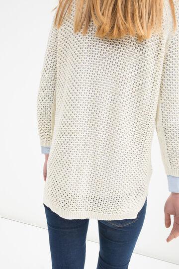 Pullover puro cotone traforato, Beige chiaro, hi-res