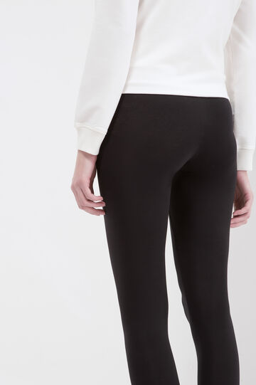 Leggings stretch tinta unita, Nero, hi-res