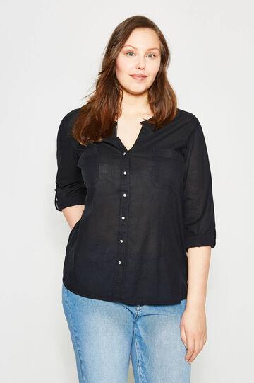 Curvy shirt with Mandarin collar, Black, hi-res